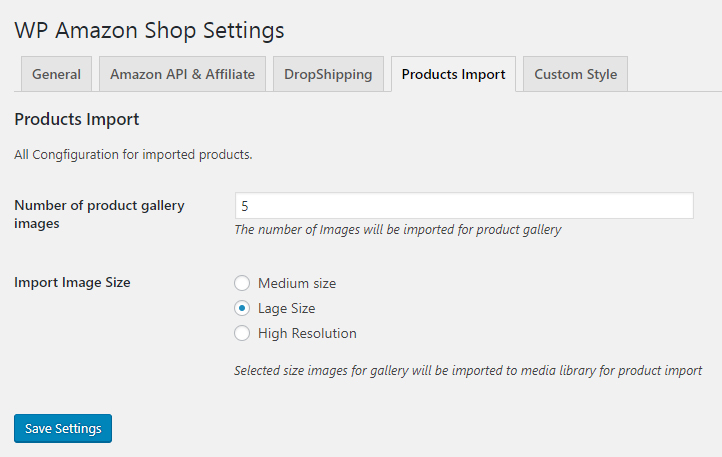 amazon product import settings